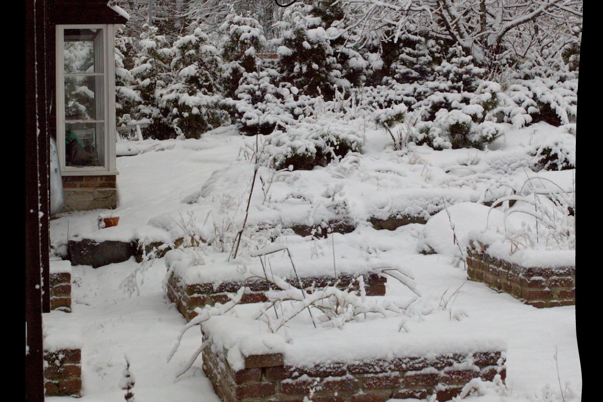 Puutarha betonikivet kasvatusaltaat. Valokuva LC